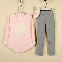 CRAZE Cute Scoop Neck Heart Pattern Long Sleeves Three-Piece Kid's Suit