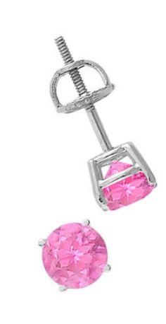 Pink Sapphire Stud #Earrings : 14K White Gold - 2.00 CT TGW