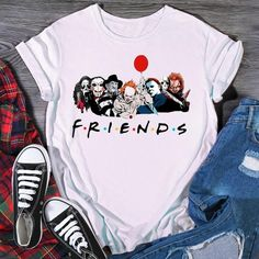 """All your Halloween """"FRIENDS"""" on one shirt! T Shirts Uk, Cool T Shirts, T Shirts For Women, Halloween Outfits, Halloween Shirt, Halloween Fashion, Costume Halloween, Halloween Gifts, Rock Outfits"""