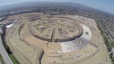 A Drone's Eye View of Apple's Headquarters Under Construction in Cupertino, California