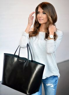 mariannan - smile greyish top, distressed jeans and Givenchy black tote bag Spring Summer Fashion, Autumn Winter Fashion, Girls Wardrobe, Weekend Wear, Perfect Woman, Clothing Co, Fashion Outfits, Womens Fashion, Fall Outfits
