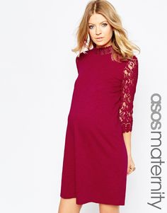 ASOS Maternity Shift Dress With Lace Sleeves at asos.com 241f952f9a2