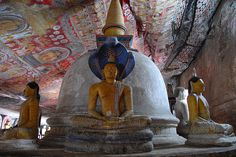 second cave of the golden temple of Dambulla, Sri Lanka Cave City, Golden Temple, World Heritage Sites, Cliff, Buddhism, Temples, The Rock, Sri Lanka, Traveling By Yourself