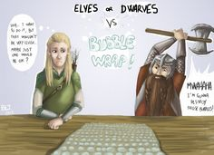 Legolas and Gimli VS Bubble Wrap