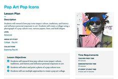 Pop Art Pop Icons - The Art of Education University School Projects, Art Projects, Curriculum, Homeschool, Art Timeline, Pop Art Collage, Art Education Resources, Collage Techniques, Pop Art Portraits