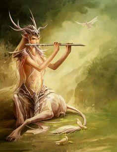Un centaure joueur de flûte
