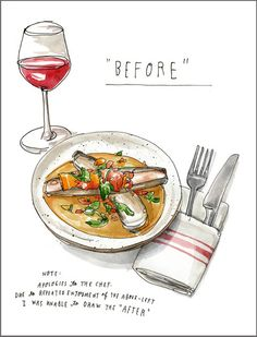 Tosca Cafe's Clam and Bacon Acquacotta / illustration by Wendy MacNaughton. via T Magazine #illustration #eats