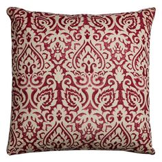 Rizzy Home Damask Burlap Throw Pillow, Red