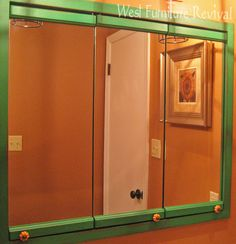 Like the idea of the handles on this piece--use glass door handles? (West Furniture Revival Medicine Cabinet Redo)