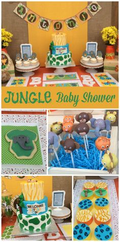 A jungle safari themed baby shower with an awesome cake and chocolate covered Oreos!  See more party ideas at CatchMyParty.com!