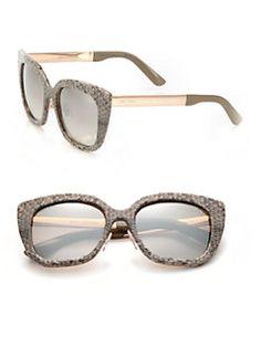 Jimmy Choo - 53MM Leather & Metal Cat's-Eye Sunglasses