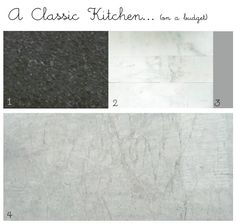 "bryn alexandra: Classic Kitchen Materials (on a budget) 1) Inexpensive Black Granite For Main Countertops: pictured is ""Black Pearl"" 2) Marble Subway Tile: Home Depot 3) Light Gray Grout: 4) White Granite/Quartzite Island:"