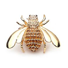Golden Bee Crystal Brooch Pin