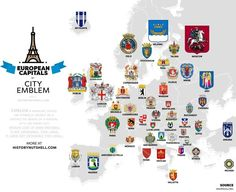 The map above shows Europe's capital cities by Coat of Arms or Emblems.
