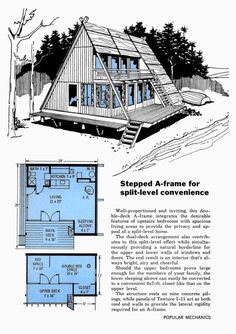 Split-Level Convenience… Stepped A-Frame Design, Popular Mechanics, April 1968 – Aaron McGrath – Join the world of pin Tyni House, Tiny House Cabin, Tiny House Design, Cabin Homes, A Frame Cabin Plans, A Frame Floor Plans, Barn Parties, Popular Mechanics, Cabins In The Woods