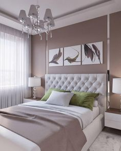White, Beige, Latte, Mink Bedroom With Chrome Accents.