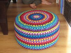 Crochet ottoman cover by glinsterling using Granny Mandala pattern by Crochet with Raymond http://crochethealingandraymond.wordpress.com/2010/11/11/revisiting-the-granny-mandala/   http://www.ravelry.com/patterns/library/granny-mandala