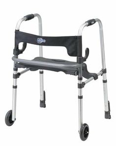 `Clever-Lite Walker w/Seat & Push-Down Brakes by Walkers---Specialty. $149.54. Mobility Products,Walkers - Specialty. Clever-Lite Walker w/Seat & Push-Down Brakes. Adult with 5  casters * Push down brakes * Comes with flip up seat with built in carry handle * Allows individual to be seated or raised to step inside the frame * Easily folds with dual clever side paddle release * Soft  flexible backrest provides comfor