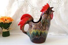 french vintage rooster , ceramic jug.