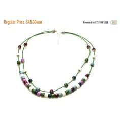 On Sale Rainbow Necklace, Bead Necklace, Necklace, Ceramic Bead... ($34) ❤ liked on Polyvore featuring jewelry, necklaces, beaded jewelry, double layer necklace, colorful necklaces, layered necklace and leather jewelry