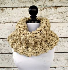 Instant Download Knitting Pattern  Knit Cowl Circle Scarf