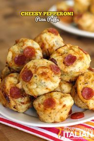 Bite Size Cheesy Pepperoni Pizza Puffs in 30 Minutes - perfect Munchkin meal @Donna @ The Slow Roasted Italian