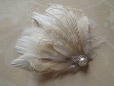 Wedding Hair Piece Bridal Head Piece Feather Hair by WeeGardens, $42.00