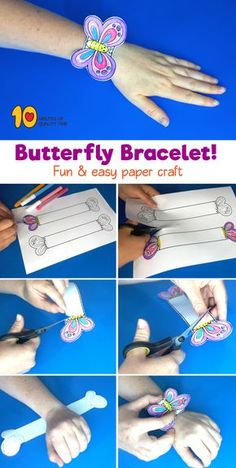 Druckbare Schmetterling Armband – 10 Minutes of Quality Time – Crafts for Kids – Join in the world of pin Paper Crafts For Kids, Diy For Kids, Diy And Crafts, Arts And Crafts, Paper Bracelet, Bracelet Crafts, Bracelets, Butterfly Crafts, Printable Butterfly