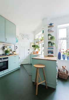 The green cabinetry in this kitchen pairs beautifully with the white walls.