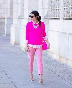pink sweater with pastel pants 2017