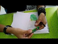 Beginners - leaves colouring with oil pastels - YouTube