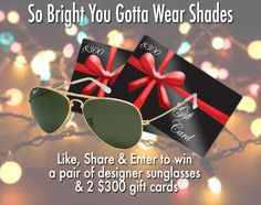Enter to win a pair of designer sunglasses & 1 of 2 $300 gift cards! Learn more at http://sdqk.me/NvhKMZSc  Everything looks better with the right pair of designer sunglasses.