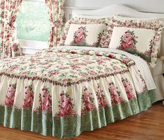 Floral English Rose Garden Bedspread