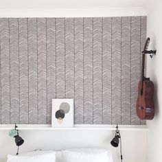 ferm LIVING Herringbone Wallpaper - monochrome colour and simple design with an upward motion offering the illusion of the space being taller. Ferm Living Wallpaper, Hallway Wallpaper, Accent Wallpaper, Bedroom Wallpaper, Guest Bedroom Decor, Home Bedroom, Design Bedroom, Bedrooms, Bathroom Ceiling Paint