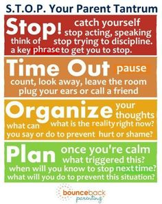 Using the STOP method to stop a parenting tantrum - try this them next time you're losing your temper!