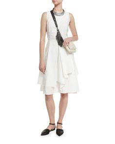Sleeveless Tiered-Skirt A-Line Dress, White