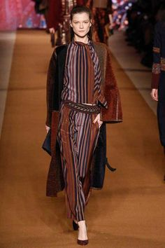 Etro Moroccan tent stripe pantsuit and easy woolly coat.  Etro Fall 2014 Ready-to-Wear Collection Slideshow on Style.com