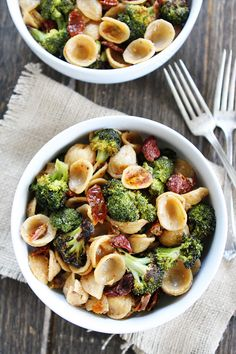 Creamy Goat Cheese Pasta with Roasted Broccoli and Sun-Dried Tomatoes Recipe on twopeasandtheirpod.com This easy pasta dish is one of our favorite meals! @ReynoldsKitchens