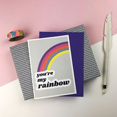 YOU'RE my RAINBOW greeting card// Rainbow card, friendship, love, rainbow, greetings cards Rainbow Card, Greeting Card Shops, Quirky Gifts, Bullet Journal Inspo, Typography Prints, Nice To Meet, Love Cards, Cute Jewelry, Balloons