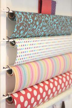 Great gift wrap storage ideas success pinterest cup hooks diy gift wrap station solutioingenieria Choice Image