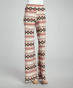 Another great find on #zulily! Coral & Mocha Geometric Palazzo Pants #zulilyfinds