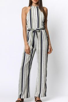 Pant jumpsuit striped white beige navy green high neck zipper back with button closure adjustable waist tie Striped Jumpsuit by Ethereal. Striped Jumpsuit, Striped Pants, Pant Jumpsuit, Nautical Stripes, White Beige, Navy And Green, Ethereal, Jumpsuits, Texas