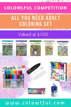 """Enter this awesome competition to stand a chance to win an """"All you need adult coloring set"""" valued at $100"""