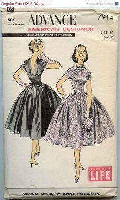 35 % de réduction vente couture Vintage années 50 modèle Advance 7914 par le Designer américain V retour Cocktail Party Dress multisources Ski Anne Fogarty pour jeune femme