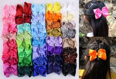 Wholesale 200-500pcs Baby Girl popular Grosgrain Ribbon Hairbows with clips 401B #MyOwnUniqueDesign