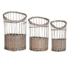 Wicker and Rattan 3 Piece Basket Set August Grove Hamper Basket, Rattan Basket, Wicker, Storage Sets, Under Bed Storage, Fabric Boxes, Fabric Storage, Plastic Baskets