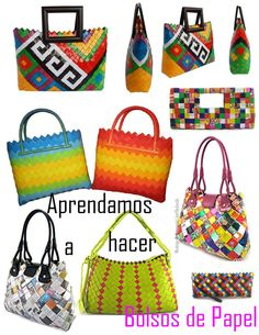 How to make paper bags Cruzado Origami - enrHedando Candy Wrapper Purse, Candy Wrappers, Candy Bags, Origami Bag, Origami And Quilling, Paper Purse, Paper Bags, How To Make Purses, Magazine Crafts