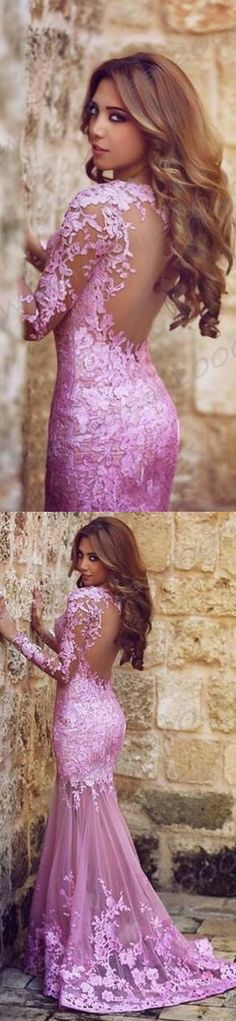 Long sleeve Lace prom dress, Lilac Mermaid Prom dresses, Long prom dresses, 2017 prom dresses, prom dresses online - Ok Bridal Store Dresses