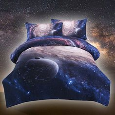 Sleepwish Galaxy Bedding Sets Printed Space Quilt Set Kids Duvet Cover with 2 Matching Pillow Covers Twin - AU Single 3d Bedding Sets, Quilt Sets, Duvet Cover Sets, Pillow Covers, Pillow Shams, Galaxy Bedding, Colorful Bedding, Bedroom Color Schemes, Colour Schemes