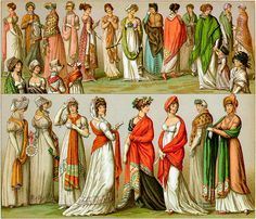 "Regency Style – also called Empire or ""Jane Austen"" style after the famous author – is one of the simplest  casual costumes to put together and can be made visually accurate with very little effort. The most important aspect is the gowns silhouette. --- Costume List for the Well-Prepared Lady: High-waist dress - Shawl, cape, or jacket - Gloves - Hat - Flat Shoes"